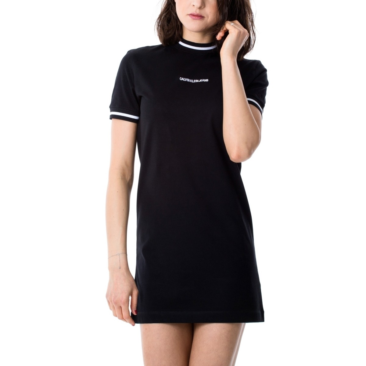 Calvin Klein Neck and Cuff Tipping Tee Dress